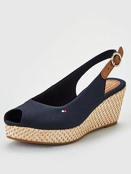 66f2bcfd899 Iconic Elba Slingback Wedges - Navy