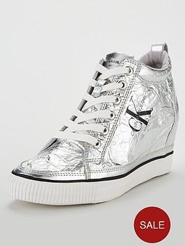 calvin-klein-jeans-ck-jeans-ritzy-metallic-crinkle-wedge-trainer-silvernbsp