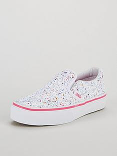 38ccbb0c93e5f0 Vans Glitter Classic Slip-On Junior Trainers - White Pink