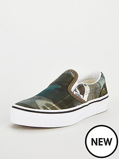 2fa2af4acf00 Vans Classic Camo Slip-On Junior Trainers - Green White