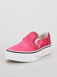 5e376d2e7003 Vans Classic Flame Slip-On Platform Childrens Trainers - Pink