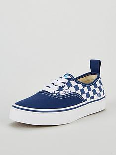 vans-checkerboard-authentic-elastic-lace-junior-trainers-navy-blue