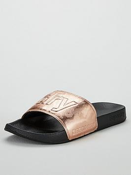 f46030e9b Superdry Metallic Moulded Pool Slide Slider Shoes - Black Rose Gold ...