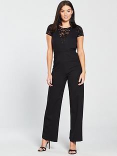 159097a0008 Miss Selfridge 2 In 1 Lace Jumpsuit - Black