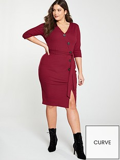 v-by-very-curve-rib-button-through-dress-red