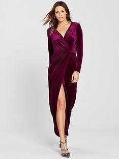 d19e8f187fc Miss Selfridge Animal Devore Wrap Maxi Dress - Burgundy
