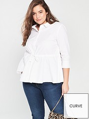 bdfe768b54c V by Very Curve Tie Waist Cotton Shirt - White