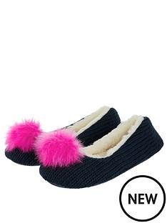 monsoon-monsoon-faux-fur-pom-knit-ballerina-slipper