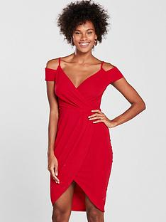 ax-paris-wrap-front-dress-rednbsp