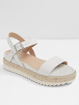 dc764a1438dd Aldo Thialle Weaved Flat Platform Sandals - White ...