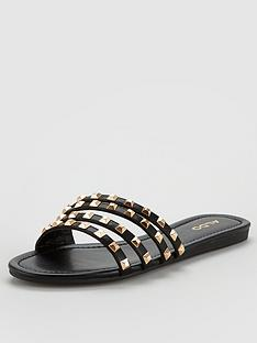 Aldo Groot Studded Flat Strappy Sandals - Black Gold