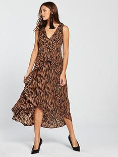 ax-paris-zebra-printed-frill-dress-camel