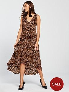 ax-paris-zebra-printed-frill-dress-camel