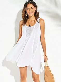 v-by-very-mesh-insert-beach-dress-white