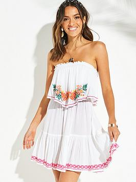 cff4c49bd8d5 V by Very Bardot Frill Embroidered Beach Dress - Pink ...