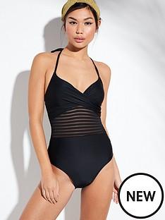 edae11d03d9c8 V by Very Shapewear Mesh Stripe Twist Top Swimsuit - Black
