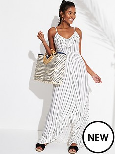 v-by-very-jersey-dipped-hem-frill-trim-maxi-beach-dress-stripe