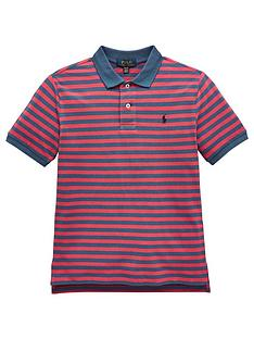 380f479a5b07 Ralph Lauren Boys Short Sleeve Stripe Polo - Navy Red