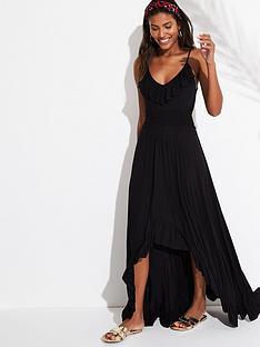 v-by-very-jersey-dipped-hem-frill-trim-maxi-beach-dress-black