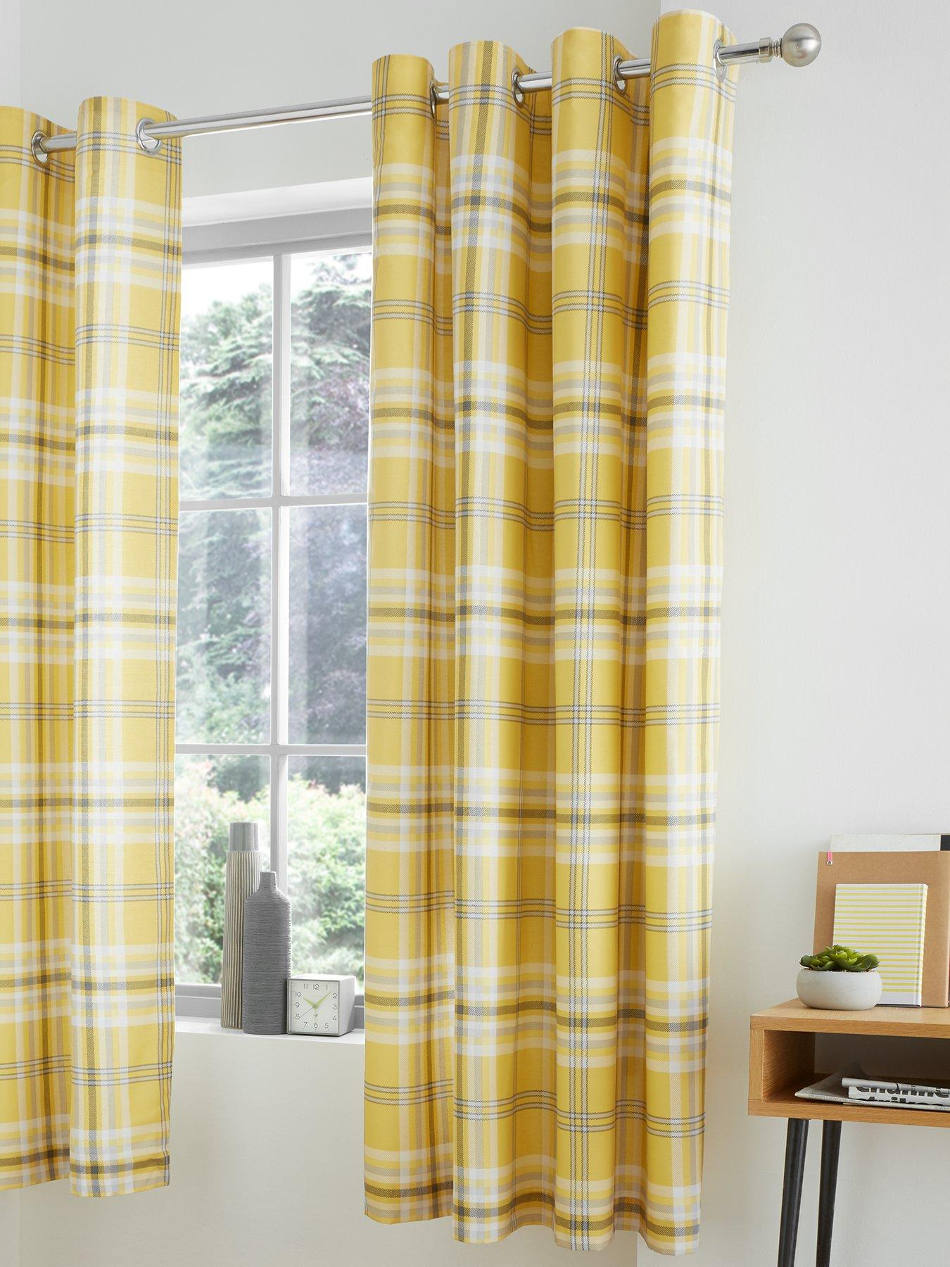 Kelso Geometric Fully Lined Eyelet Ring Top Curtains Navy Blue Ochre Yellow