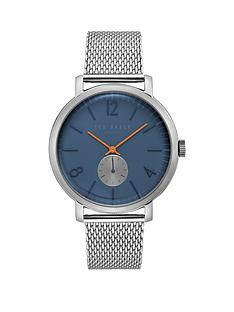 ted-baker-ted-baker-navy-and-red-detail-dial-stainless-steel-mesh-strap-mens-watch
