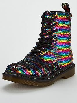 ed31cd826e 1460 Pascal Sequin 8 Eye Ankle Boots - Black/Silver