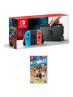 nintendo-switch-neon-console-with-paw-patrol-on-a-roll
