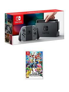 nintendo-switch-grey-console-with-super-smash-bros-ultimate