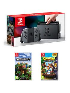nintendo-switch-grey-console-with-crash-bandicoot-nsane-trilogy-and-minecraft
