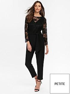 wallis-petite-lace-jumpsuit-black