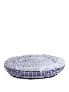 petface-dove-grey-check-donut-bed