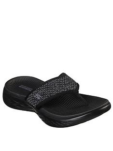 8e6034d65 Skechers On-The-Go 600 Glossy Flip Flop Shoes - Black