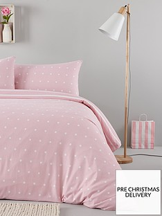 everyday-collection-brushed-cotton-printed-spot-duvet-cover-set-pink