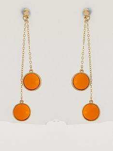 karen-millen-logo-cabochon-double-drop-earrings-orangegold