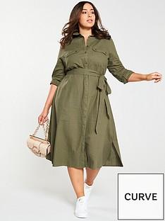 ae55b3e0d8 V by Very Curve Button Through Linen Shirt Dress - Khaki