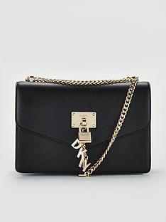 dkny-elissa-pebble-leather-flap-large-shoulder-bag-black