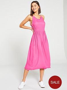 maison-scotch-spaghetti-strap-summer-midi-dress-pink