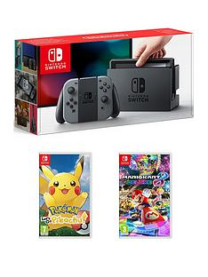 nintendo-switch-grey-console-with-pokemon-lets-go-pikachu-and-mario-kart-8-deluxe