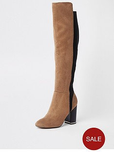 3af0289d30 River Island River Island Contrast Knee High Boots - Tan