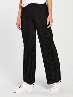 v-by-very-wide-leg-plisse-trouser-black