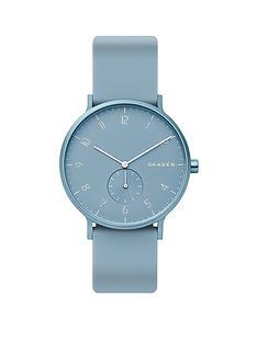 skagen-skagen-aaron-blue-dial-light-blue-silicone-strap-watch