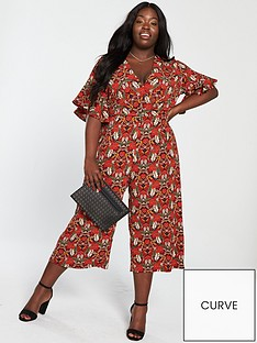 9e552205501 AX PARIS CURVE Floral Jumpsuit - Red