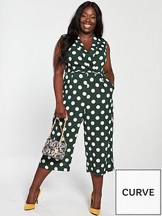 ax-paris-curve-curve-polka-dot-jumpsuit-green