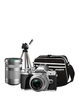 olympus-om-d-e-m10-mk-iii-compact-system-camera-traveller-kit-silver-inc-14-42mm40-150mm-tripod-bag