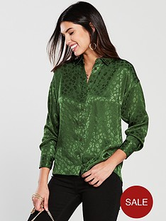 v-by-very-animal-jaquard-button-through-blouse-greennbsp