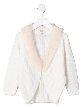6182d189d River Island Mini Girls Faux Fur Cable Collar Cardigan - Cream ...