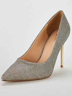 7542c13a9f63 V by Very Chick High Heel Point Court Shoe - Metallic