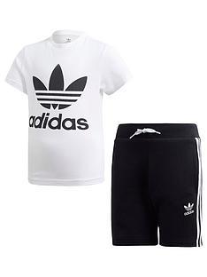 e1fe4d0a730 adidas Originals Boys Shorts and Short Sleeve T-Shirt Set - White Black