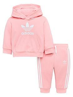 875e1391b039 adidas Originals Baby Girls Trefoil Hoodie Suit - Pink
