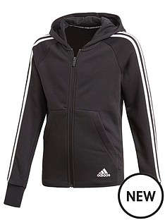 adidas-girls-3-stripe-full-zip-hoodie-black
